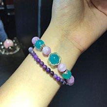 10mm冰種天河石x9mm高檔紫鋰輝 花朵設計款