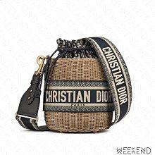 【WEEKEND】 DIOR Wicker Basket Oblique 圓筒 草編 肩背包 藍色