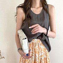 垂墜感絲稠大地色系背心+彈力舒適透氣併色大裙擺裙 艾爾莎【TAE8825】