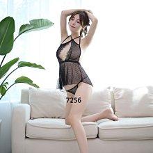 情人節禮物  拍照攝影服裝 黑色點點薄紗露背短版性感睡衣 角色扮演 情趣睡衣7256~時尚花園館~