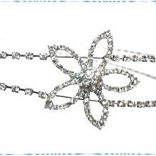 ☆POLLY媽☆歐美進口水鑽花朵整圈抓鑽銀色彈性鋼絲雙圈髮箍