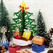 2【拼布材料包 手工DIY布藝】免裁剪旋轉音樂盒繽紛聖誕樹禮品不織布手工布藝diy材料包
