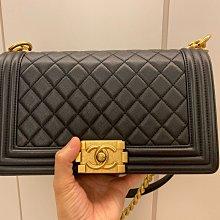 Chanel 黑色荔枝皮金鍊Boy25公分(已售出)