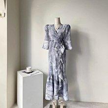 韓國渲染交叉綁帶荷葉長洋裝