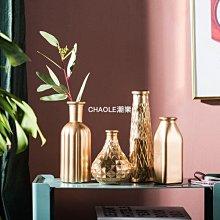 北歐INS現代簡約家居客廳臥室金色玻璃花瓶餐桌插花器裝飾品擺件#裝飾#擺件#盆景#復古-CHAOLE潮樂