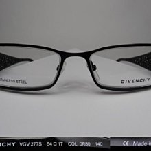 全新真品 Givenchy 紀梵希光學眼鏡, VGV277S  太樺公司貨, 義大利製  18G 鏤空 金屬框  鏡框和