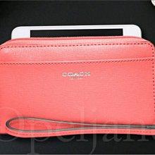 COACH 64976 Saffiano防刮真皮手拿包萬用包放IPHONE手機 免運費 愛COACH包包