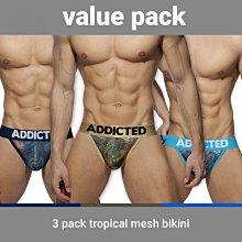 ADDICTED AD891P 3PC TROPICAL MESH BIKINI 三角內褲 超值三件組【G-Punch】