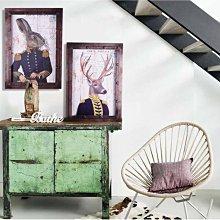 C - R - A - Z - Y - T - O - W - N 美式鄉村動物鹿木板掛畫 復古仿鐵壁畫 紳士動物裝飾畫
