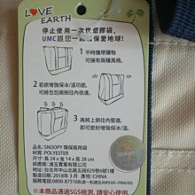 107股東會紀念品~聯電~SNOOPY 史努比 時尚保冰袋(保溫袋/保冷袋)/便當袋/野餐袋 環保兩用購物袋