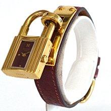 HERMES凱利(Kelly)錶 石英錶 酒紅 鍍金