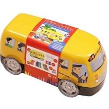 德國輝柏FABER-CASTELL 公車鐵盒連接彩色筆20色/ 盒子也是玩具喔!