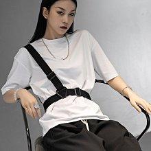 ►DR.DESIGN│DR32616特價-暗黑簡約 進擊的巨人 戰術背帶 裝飾(可拆賣)  寬鬆休閒 短袖T 黑/白/灰