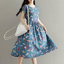 【Mi Ni】日系森女文藝範  優雅文藝印花  寬鬆顯瘦  圓領短袖棉麻連衣裙 洋裝~DA273001