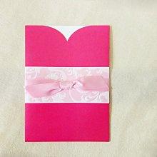 W1102 韓風Ribbon bow微閃韓服 粉紅牡丹 抽卡式喜帖卡套