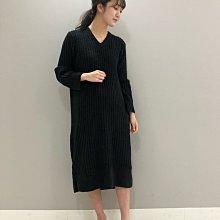 G415 軟綿綿 保暖黑色V領長袖長洋裝 居家服 睡衣 保暖  gelato pique
