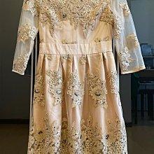 專櫃品牌-杏色蕾絲雪紡雙層絲紗華麗重工亮片洋裝