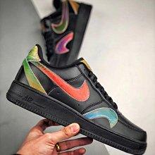 Nike Air Force 1 Low AF1 黑彩 鐳射 炫彩 皮革 低幫 休閒滑板鞋 CK7214-001 男女鞋