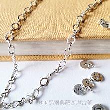 黑爾典藏西洋古董~純銀925純銀圈圈8字雷射時尚長眼鏡鍊~古著經典設計日本