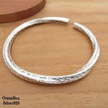 ☆§海洋盒子§☆輕巧復古螺旋石紋設計S990純銀開口式手環 OB9681 (H) 附贈禮盒