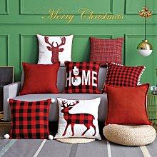 【世界購】聖誕靠枕靠墊套 聖誕節抱枕套  紅黑格子麋鹿pillow沙發抱枕
