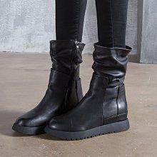 真皮短靴 現貨在台 DANDT 質感牛皮皺褶拉鍊短靴(NOV 24) 同風格請在賣場搜 REG 或 歐美鞋款