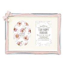 日本Ladonna BRIDAL系列- 粉紅蝴蝶結吊掛珍珠款5x7金屬相框 /BJN07-2L-PK