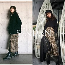 SaNDoN x『MOUSSY』晚冬新作 官網櫃上大完售 毛料材質豹紋高腰性感開岔顯瘦包臀長裙窄裙 SLY 180119