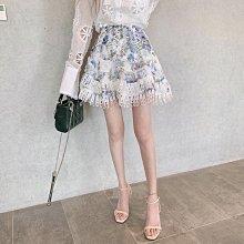 BOSHOW 韓國連線 正韓 渲染碎花刺繡水溶蕾絲蛋糕層次半身短裙