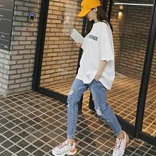 【現貨】韓國女裝 正韓 舒適彈性腰圍鬆緊刷破男友牛仔褲【ML375310】