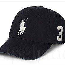 Polo Ralph Lauren Hat 黑色大馬數字3 Logo 運動休閒鴨舌帽/棒球帽高爾夫球帽 愛Coach包包