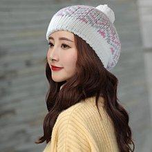 秋冬保暖造型 R142-1 球球針織毛帽貝雷帽 白色款