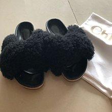 超人氣部落格Doris穿CHLOE交叉毛毛拖鞋(售黑色)9成新