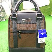 [小鷹小舖] Mizuno Golf 5LJB192600 美津濃 高爾夫 單肩運動袋 合成皮革 咖啡色