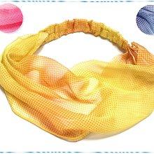 ☆POLLY媽☆歐美進口層次水玉點漸層色系絲質頭巾式寬版髮帶~粉桃紅色系、藍紫色系、黃橙色系