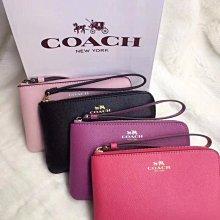 美國正品 COACH 58032 55824 女式手拿包 拉鏈款手腕包 錢包 馬車Logo 耐磨顆粒紋真皮