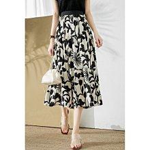 BEFE 時尚精品 高品質 印花圖案 手感柔滑 顯瘦鬆緊腰 半身裙 雪紡中長裙 特惠價
