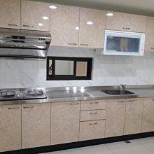 名雅歐化廚具316公分不鏽鋼檯面+上廚F1木心桶身+下廚F1木心桶身+四面封美耐門板+喜特麗三機