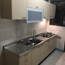 名雅歐化廚具250公分壓花不鏽鋼檯面+上廚F1木心桶身+下廚F1木心桶身+五面封結晶門板
