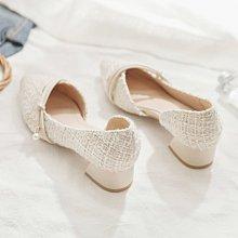 涼鞋女夏季新款淺口尖頭側空仙女晚晚風溫柔鞋粗跟中跟單鞋女