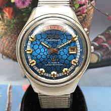 二手鐵力士TELUX 自動上鍊機械男錶 日期星期顯示(水藍色石頭紋面)