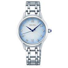 【台南 時代鐘錶 SEIKO】精工 140周年 SRZ539P1 羅馬字 藍寶石鏡面 鋼錶帶女錶 藍 29.5mm