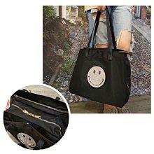 韓國微笑防水三層購物袋/配真皮 微笑包 笑臉包 旅行袋 肩背包 超大容量/媽媽包 出國旅遊【洋裝小妞】