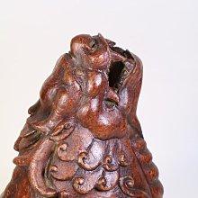 竹雕工藝美術【受天百祿】螭龍香薰.焚香雅趣 茶花香道擺設品