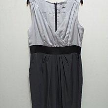 H&M V領 灰色緞面氣質高雅無袖及膝洋裝EUR44/US16-號