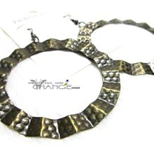 Change Fashion【歐美進口】復古銅立體點狀浮雕設計個性時尚鏤空波浪造型圓耳環-532514-0347