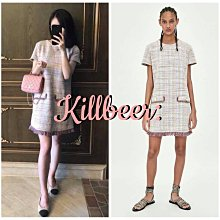 KillBeer:身為名媛的自傲之 歐美小香風經典法式千鳥格紋毛呢針織彩色粉嫩氣流蘇身連身裙洋裝zara topshop