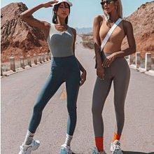 愛運動~健身運動休閒背心式連身套裝/一體式彈力修身顯瘦美背排汗透氣速乾/跑步訓練瑜伽連身褲裝  R3195