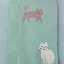 【日本購回,現貨出清】日本製   貓咪長形純信封 一包8入