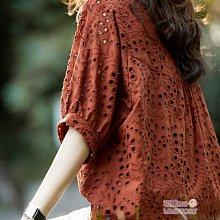 刺繡燈籠袖時髦蕾絲衫-M~2XL萌蔓物語【KX3814】韓氣質女上衣